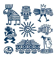 Maya or inca blue totem icons vector