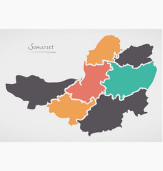Somerset england map with states and modern round vector