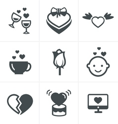 Love icons set design vector