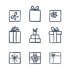 Hand drawn icons gifts vector