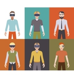 Men in the virtual reality headsets vector