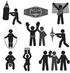 Black Symbol Boxing Icon Set vector image