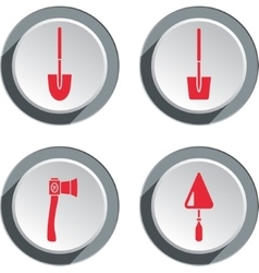 Building tools icon set axe trowel shovel work vector