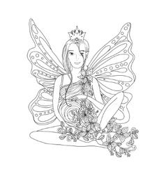 Adult coloring book page with pregnant lady and vector