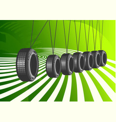 car tires on green background vector image vector image