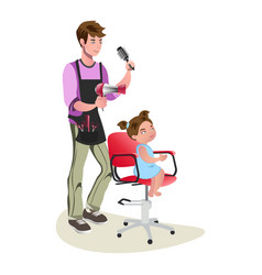 children teenager hairdresser character cute vector image vector image