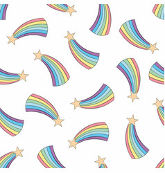 Colorful seamless pattern with rainbow background vector