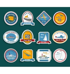 Cruise travel agency stickers set vector