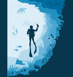 Diver with underwater wildlife jellyfish fish vector