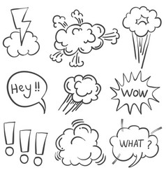 Doodle of text balloon hand draw style vector