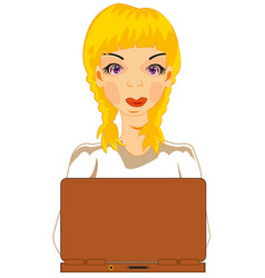 girl for computer vector image vector image