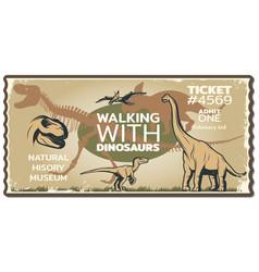 Grungy dinosaur ticket vector