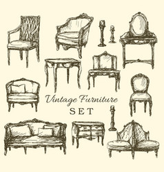 Hand drawn vintage furniture set vector