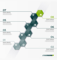 Infographic template with 8 hexagons vector