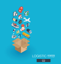 logistic integrated 3d web icons growth and vector image vector image