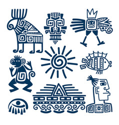 Maya or inca blue totem icons vector