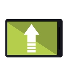 Mobile phone upload arrow gadget vector