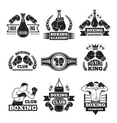 monochrome labels set for boxing championship vector image