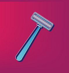 Safety razor sign blue 3d printed icon on vector
