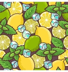 Seamless lime lemon and peppermint vector image
