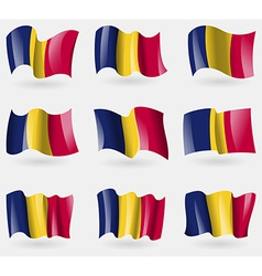 Set of Chad flags in the air vector image