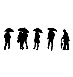 Silhouettes of people with umbrellas vector