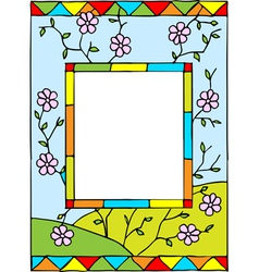 spring flowers stained glass vector image vector image