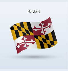 State of maryland flag waving form vector