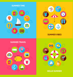 Summer travel concepts set vector
