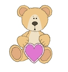 Teddy Bear is sitting with heart vector image vector image