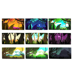 Tropical jungle landscapes set in different times vector