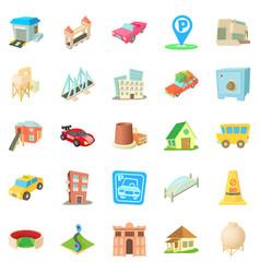 Vast city icons set cartoon style vector