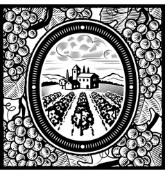 Vineyard black and white vector