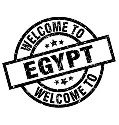 Welcome to egypt black stamp vector