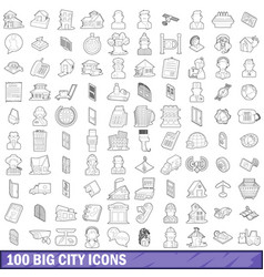 100 big city icons set outline style vector