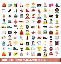 100 clothing magazine icons set flat style vector