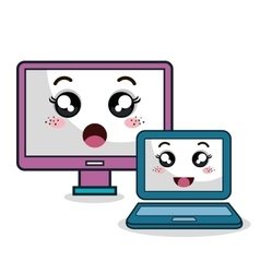 cartoon laptop and monitor technology digital vector image