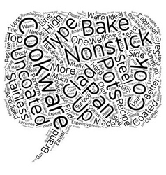 Basic cookware explained text background wordcloud vector
