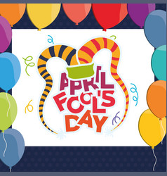 April fools day hat balloons vector