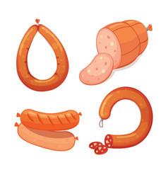 set of cartoon sausage bacon sliced vector image