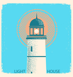 Lighthouse vintage poster on old paper texture vector