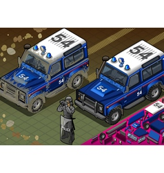 Isometric police off road vehicle in front view vector