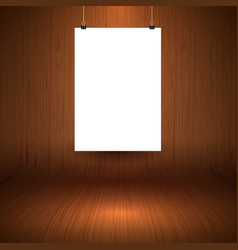 Wooden display background with blank hanging vector