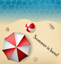 Beach text frame with umbrella and ball vector