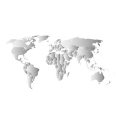 Grey political map of world each state with own vector