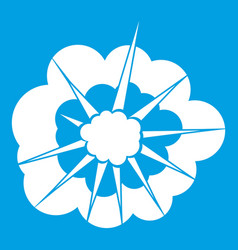 Cloudy explosion icon white vector