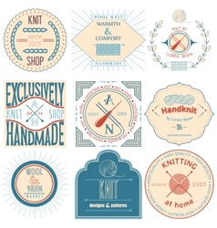 Set of vintage knitting labels badges and design vector