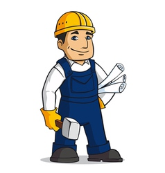 Builder man in cartoon style vector