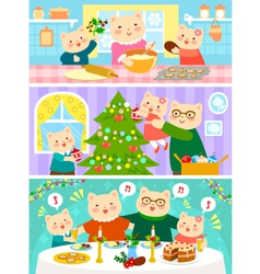 Cats family on christmas vector