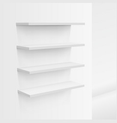 3d empty white shop shelf on wall vector image vector image